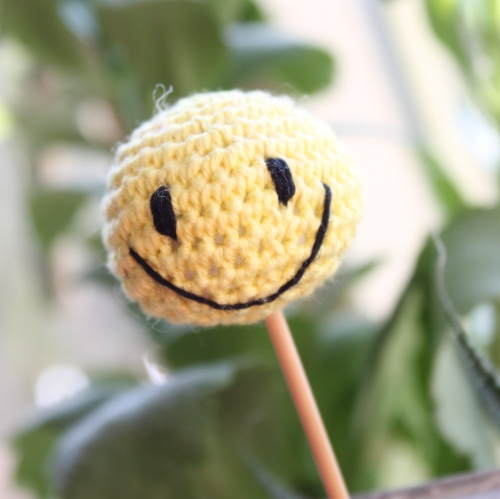 The original smiley face crochet cake pop on missneriss.com
