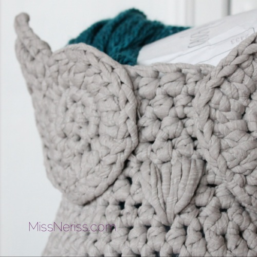 Owl basket, seen on missneriss.com.  Pattern to buy on Craftsy.