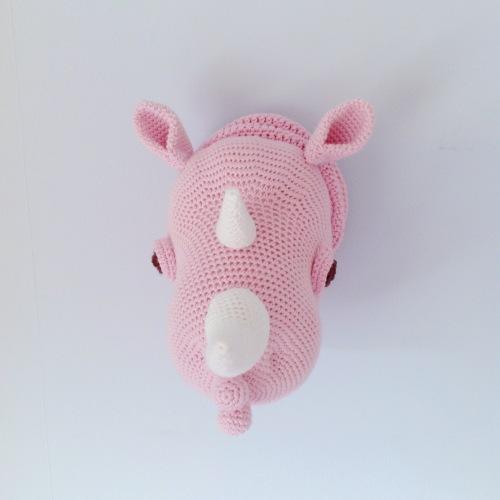 Rhinka the Rhino, faux-taxidermy amigurumi pattern by Pepika.  Spotted by @missneriss