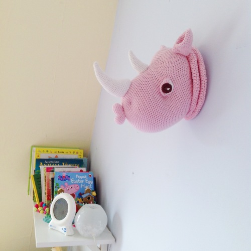 Rhinka the Rhino, faux-taxidermy amigurumi pattern by Pepika. Spotted by @missneriss