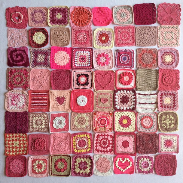 Instagram project by @insta_yarn_folk, bringing together pink squares from all over the world, all to raise awareness for Breast Cancer.  So many wonderful people have come together to contribute, it's a beautiful cause.  #breastcancer #pinkribbon