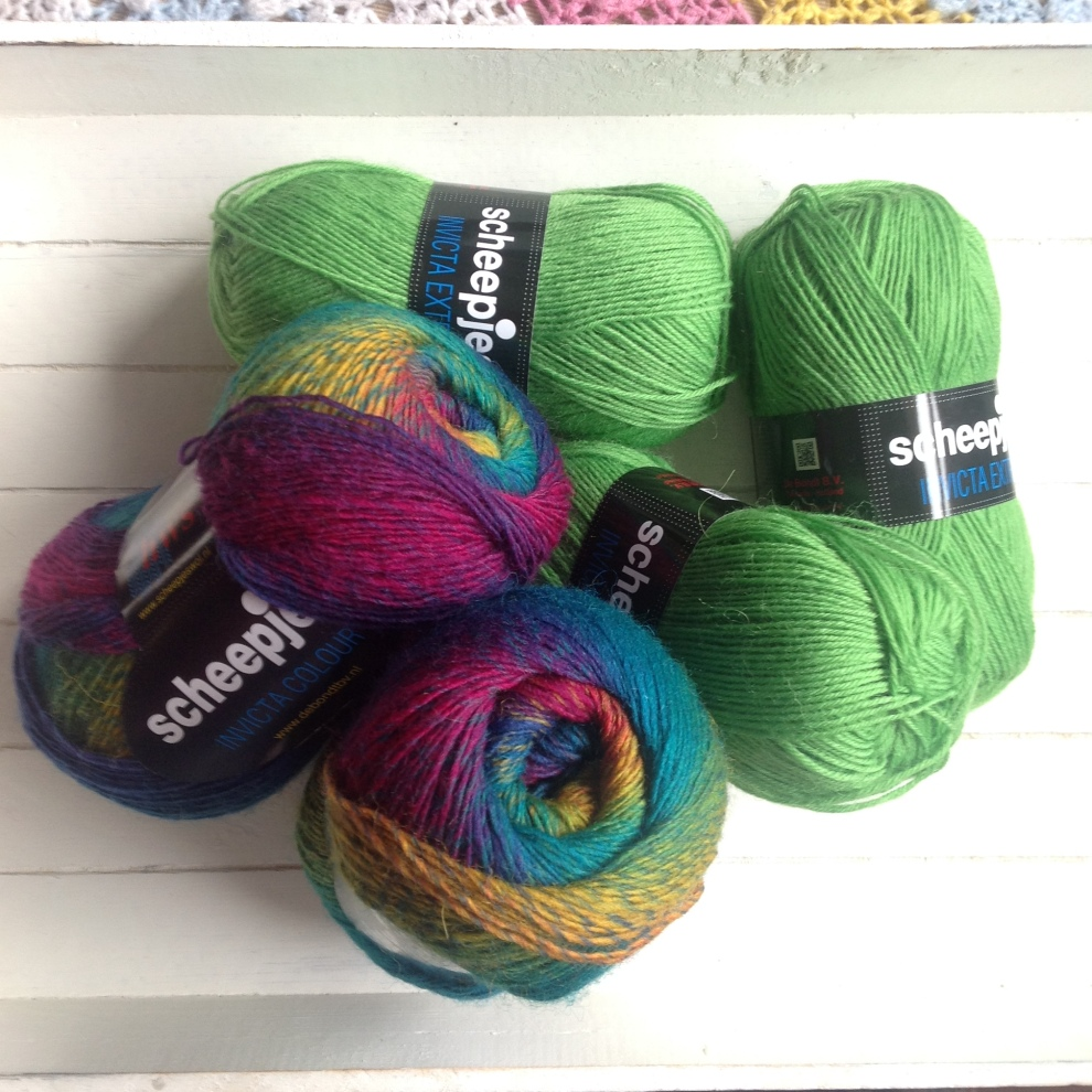 "Invicta Colour in ""Cruise"" by Scheepjeswol, about to be turned into a beautiful triangle scarf using the pattern in the Scheepjes Yarn Kit. Click for stockists."