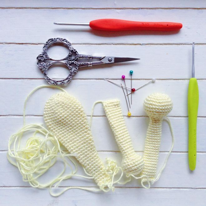 Ears, arms and legs for the flop-eared bunny made with Scheepjes Catona mini-skeins by MissNeriss