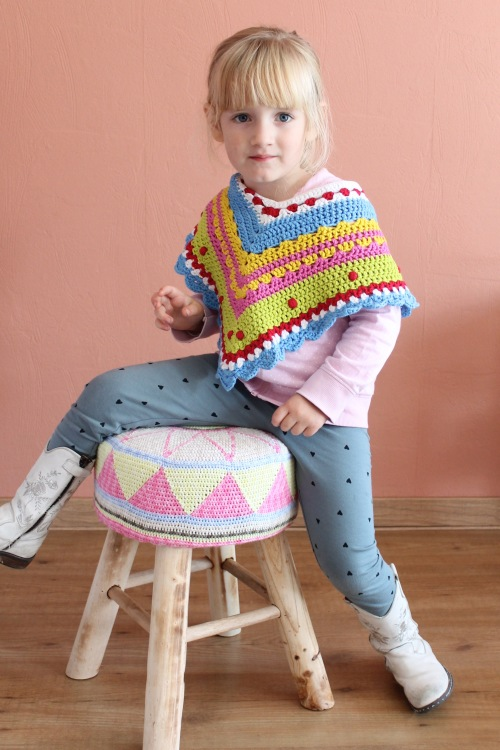 Tapestry crochet stool, modelled by Raina