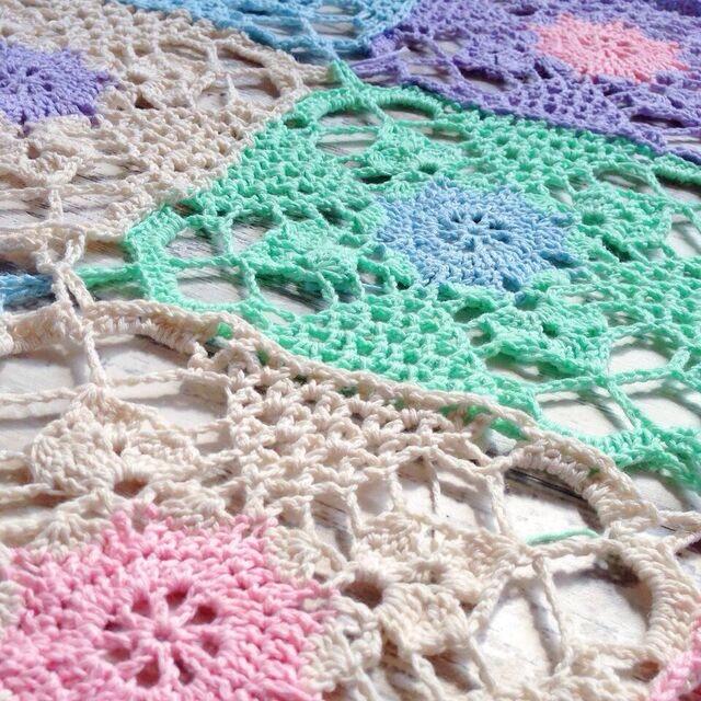 Rustic Lace Square blanket progress