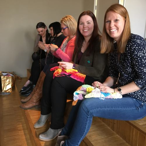 There we are, on the naughty step, learning to knit socks while Kirsten and Esther smile for the camera