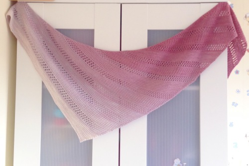 Winterlight shawl. Made with Dingo Dyeworks Fair Dinkum Dingo Tails and Winterlight pattern by Meg Gadsbey on Ravelry