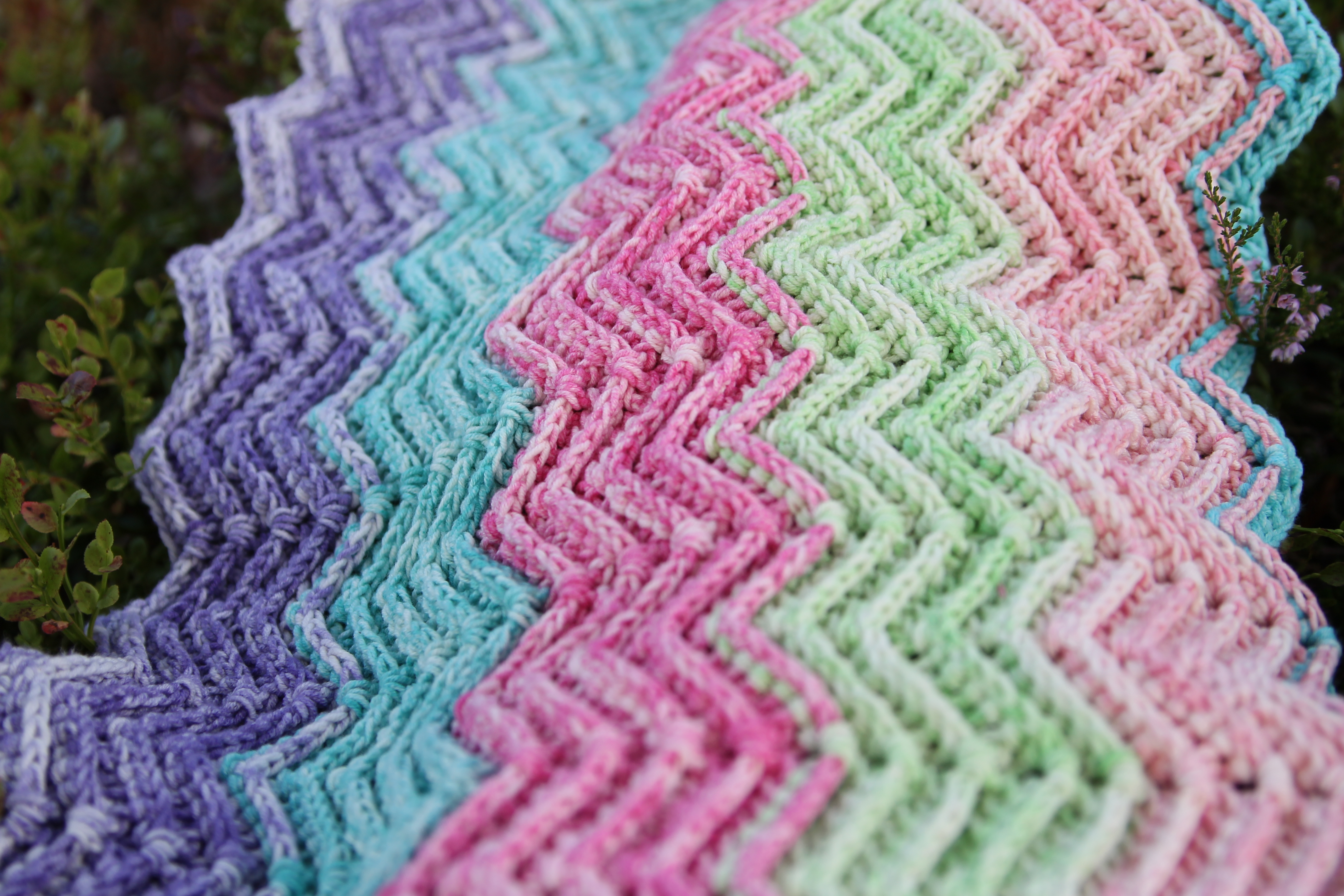 3D Chevron Blanket WIP by MissNeriss, using Scheepjes Aquarel: http://shrsl.com/?dhnl