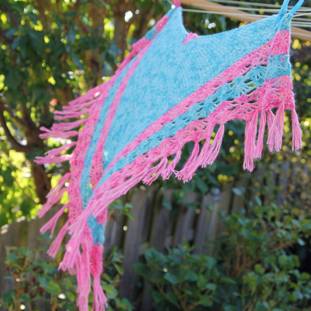 Piha Shawl by Alia Bland, made in Scheepjes Spirit on missneriss,com