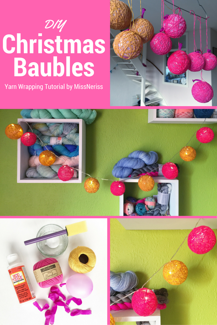 DIY Christmas Bauble - a yarn wrapping tutorial by @MissNeriss