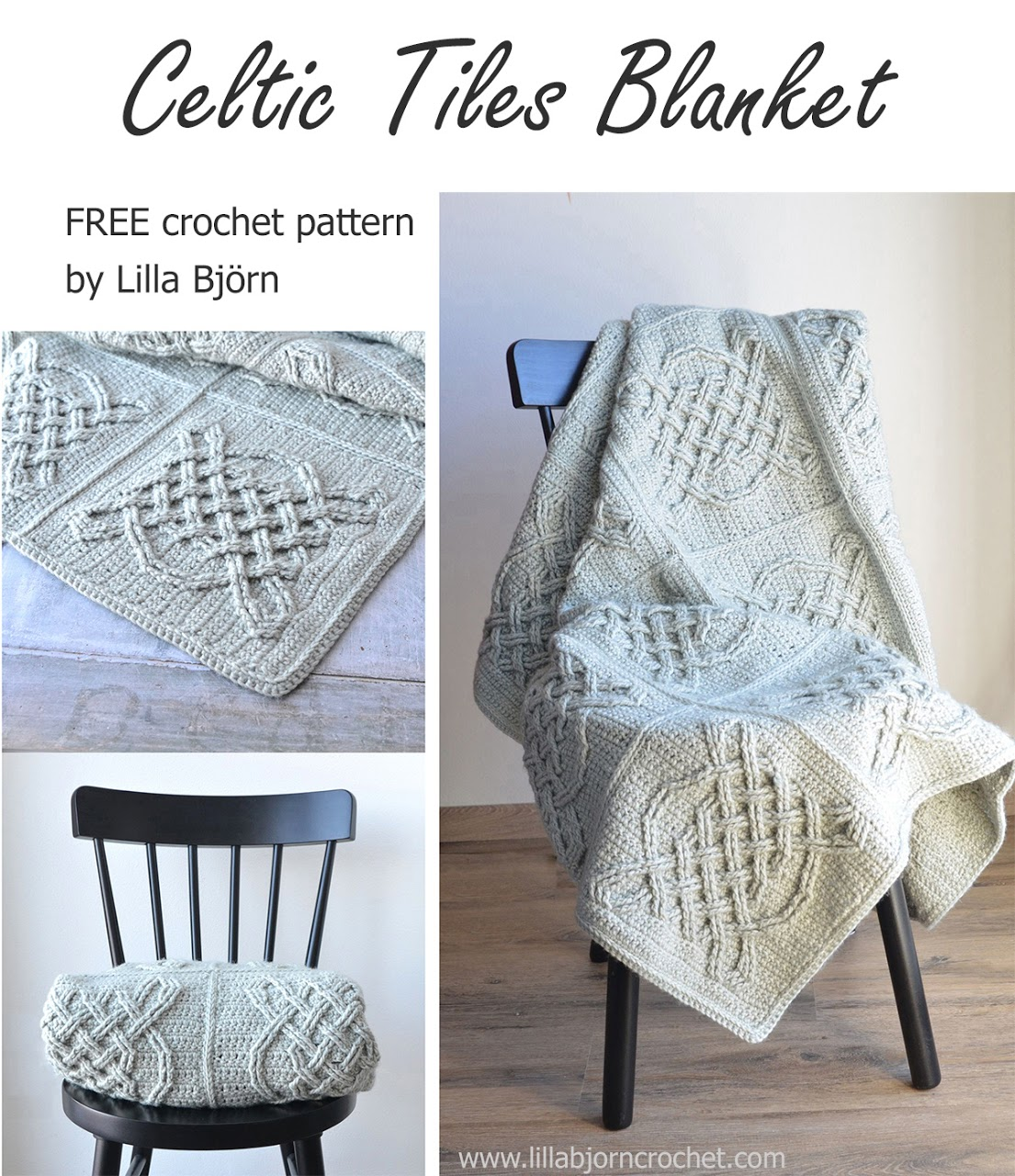 Celtic Tiles Blanket by Lilla Bjorn: http://www.lillabjorncrochet.com/2017/02/celtic-tiles-blanket-free-overlay.html
