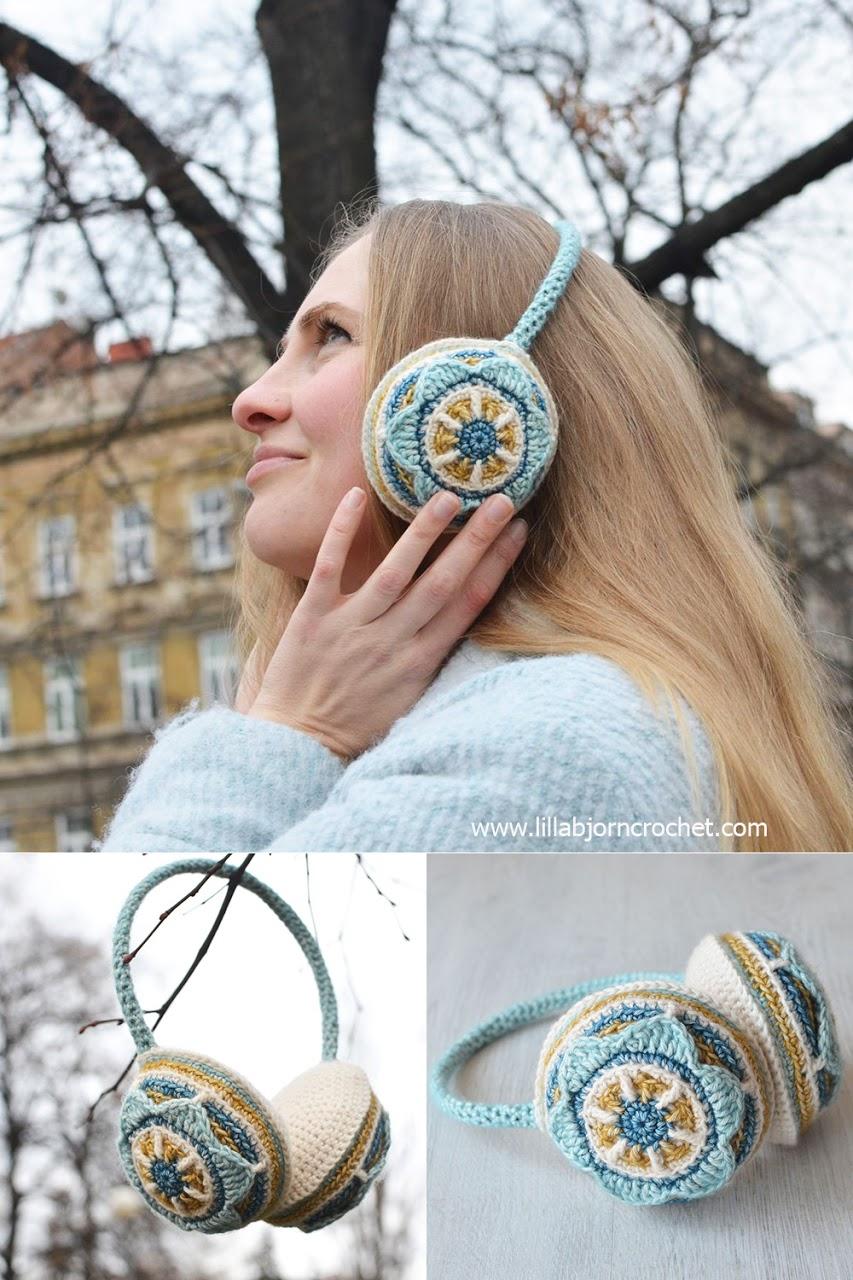 Floral Ear Muffs by Lilla Bjorn http://www.lillabjorncrochet.com/2016/01/floral-ear-muffs-free-crochet-pattern.html