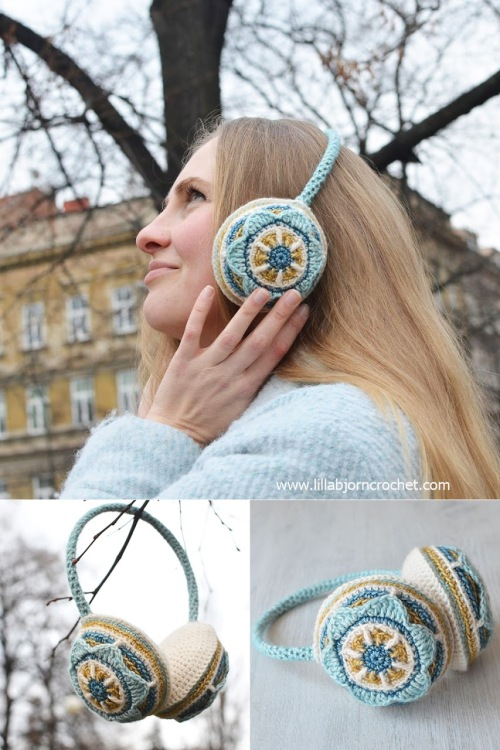 Floral Ear Muffs by Lilla Bjorn http://www.lillabjorncrochet.com/2016/01/floral-ear-muffs-free-crochet-pattern.html