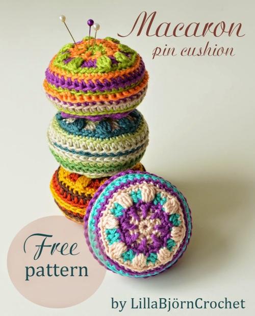 Macaron pin cushion http://www.lillabjorncrochet.com/2015/05/macaron-pin-cushion-free-pattern.html
