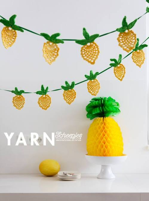 Pineapple Garland - crochet pattern by Nerissa Muijs - YARN Tropical Issue