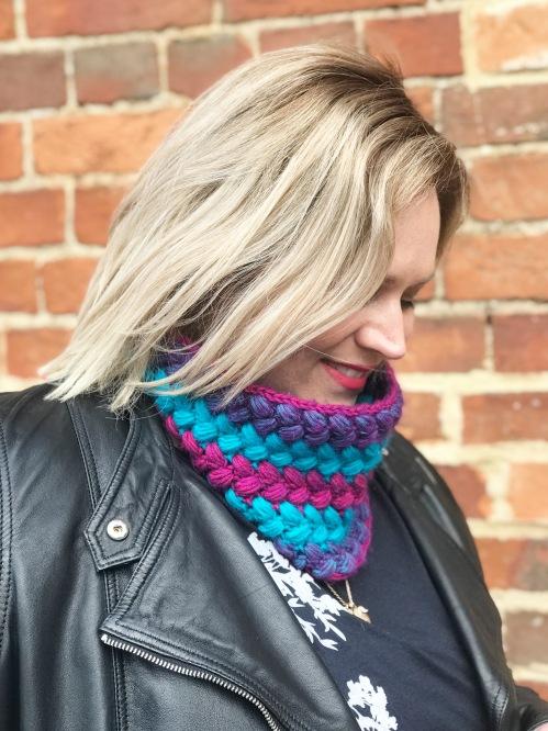 Crochet Braided Cowl, free pattern using Scheepjes River Washed, by Nerissa Muijs