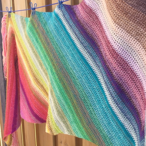 Rainbow Wrap made with Scheepjes Stone/River washed cutie pies: http://shrsl.com/ubkw