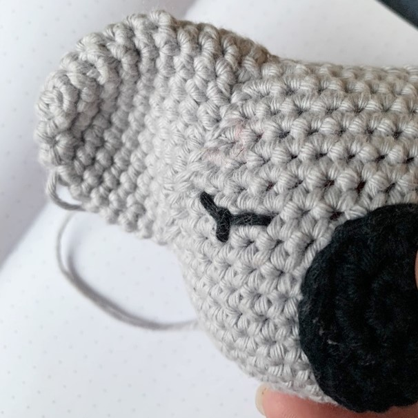 close up of koala lovey eye, ear and nose for assembly