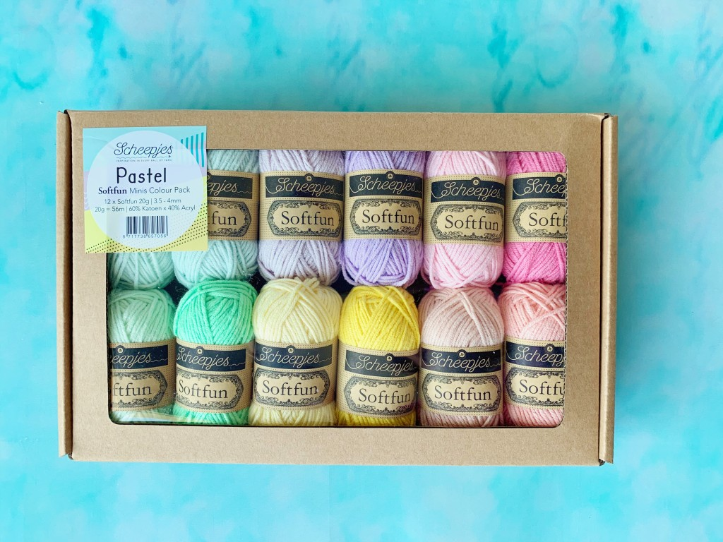 close up of Scheepjes softfun colour pack in the pastel set, including 12 20g balls of yarn