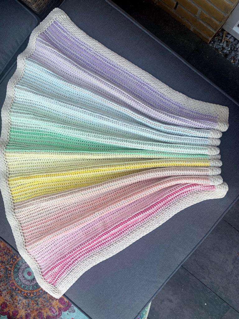 Shot from above of crochet blanket