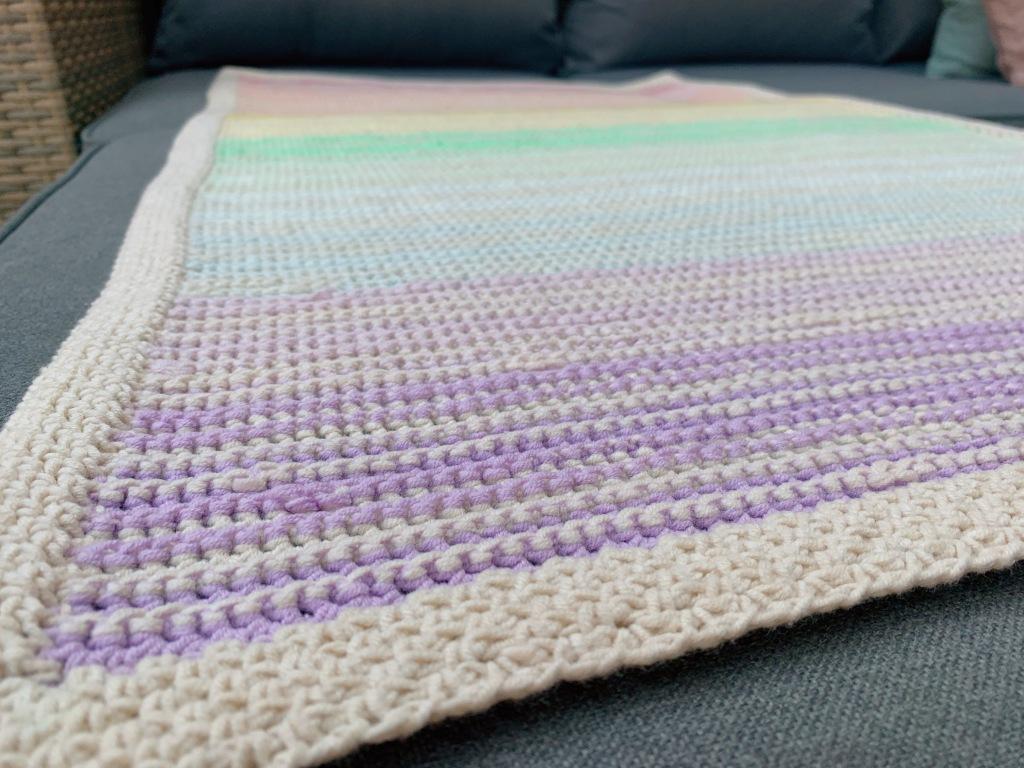 close up of crochet blanket